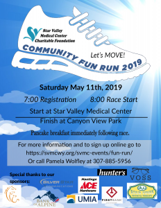 "Animated sneaker on ""Community Fun Run 2019"" poster against sky background"