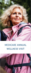 "Blonde woman wearing pink jacket on ""Medicare Annual Wellness Visit"" brochure"